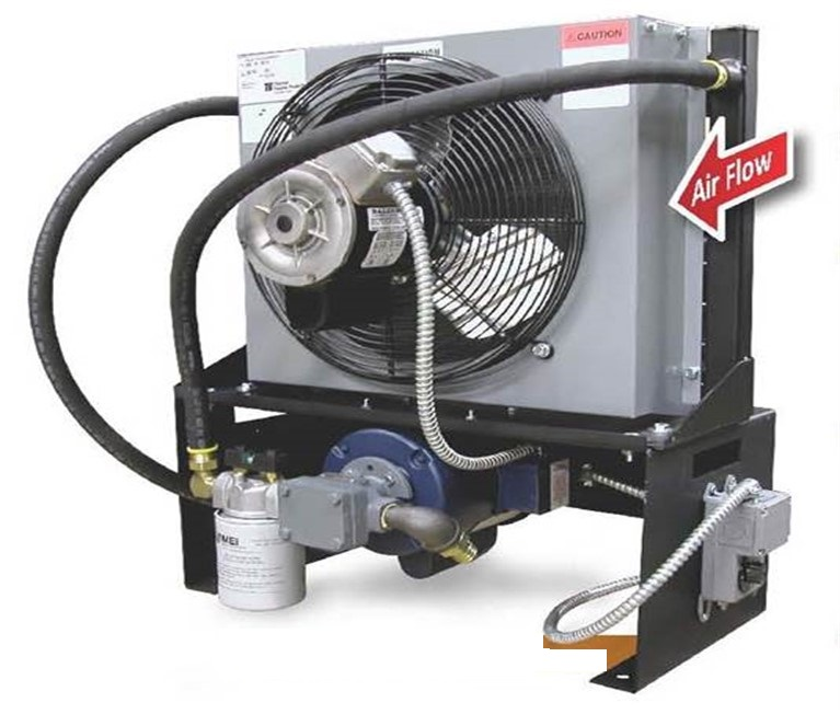 Elevator hydraulic oil cooler